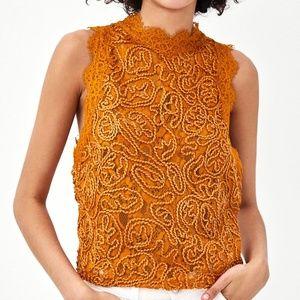 ZARA Trafaluc Golden Orange Lace Zip Top Small